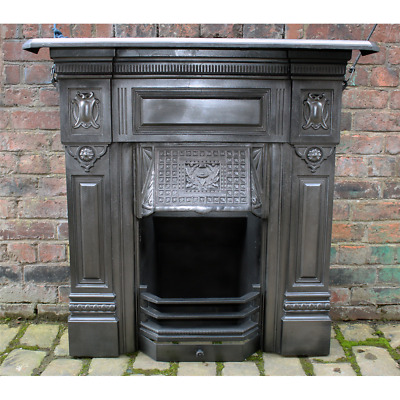 Antique Original Cast Iron Combination Fireplace