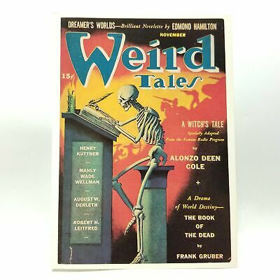 Weird Tales Magazine Postcard Witch Skeleton Book of Dead November 1941 Repro
