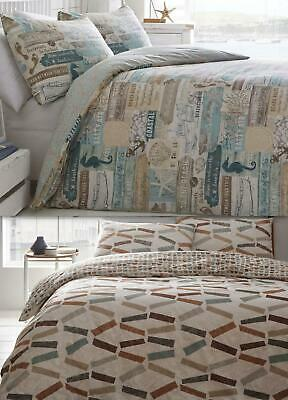 Nautical Beach Or Geometric Duvet Cover Bedding Bed Set Modern Soft Reversible