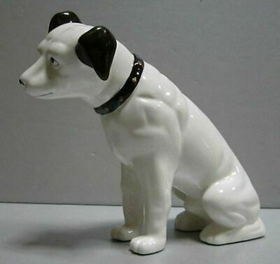 """Nipper Victor Edison dog ceramic 6"""" coin bank nos old stock phonograph"""