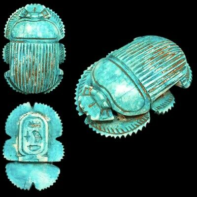 Very Rare Ancient Egyptian Blue Glazed Scarab Beetle Top Quality 300 B.c. (1)