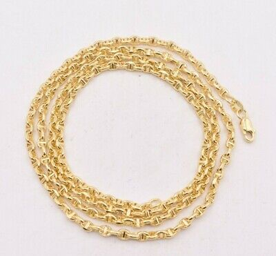 3mm Puffed Gucci Anchor Mariner Link Chain Real 10K Yellow Gold