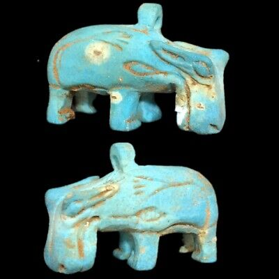 Rare Beautiful Ancient Egyptian Hippo Amulet 300 B.c. (8)