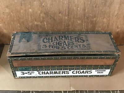 Antique Old Wood Charmers Cigar Box Rarew Vintage Tobacco 3'S