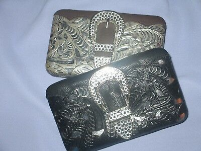 Women's Hard Case Opera Wallet~Tooled Leather Look w/Silver Insets~Bling Buckle