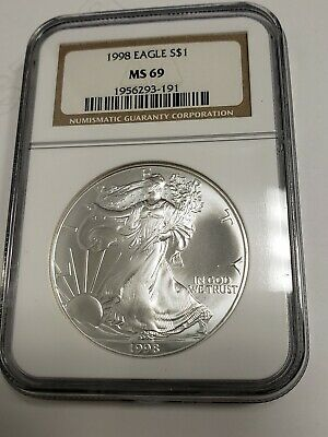 1998 Ngc American Silver Eagle Ms 69