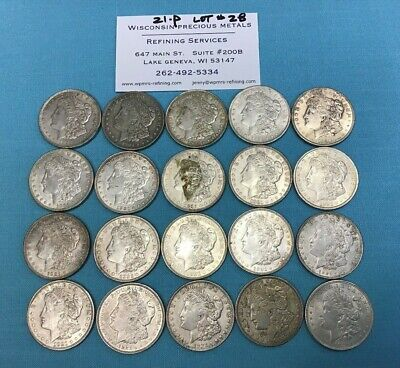 1921 P Morgan Silver Dollar Wholesale Lot of 20 Coins - LOT #28