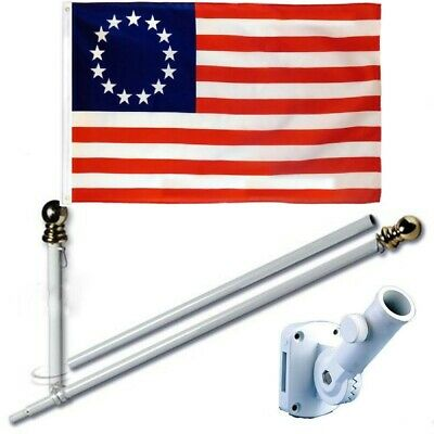 Betsy Ross 3 x 5 FT Flag Set w/ 6-Ft Spinning Flag Pole + Bracket (Tangle Free)