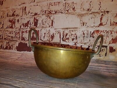 Antique Old Arts Crafts Small Brass Jam Pot Bowl Wrought Iron Handles Planter
