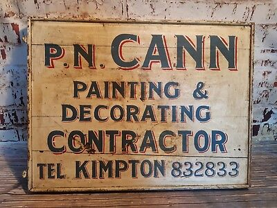 Antique Old Wooden Hand Painted Sign Writing Advertising Sign Painters Decorator
