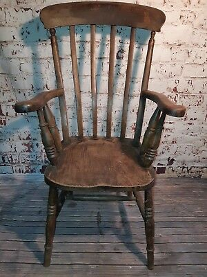 Antique Victorian High Back Windsor Lathe Captains Grandfather Fireside Chair