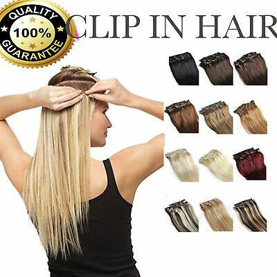 100% Natural Remy Clip in Hair Extensions 8 Full Head Real Human Hair UK Seller