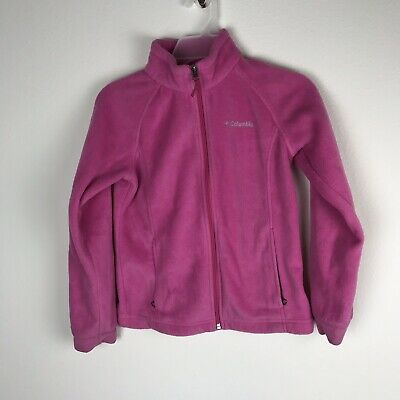 Girls Columbia Pink Fleece Zip-up Jacket size Medium Excellent Condition!