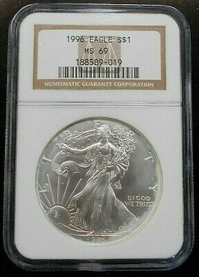 Key Date ~ 1996 Silver Eagle ~ Ngc Ms69 ~ Free Shipping (Ls3)