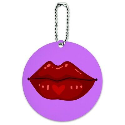 Juicy Luscious Lips Round Luggage ID Tag Card Suitcase Carry-On
