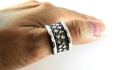 Men Womens Sterling Silver 925 Basket Weave Amulet Boho Ethnic Thumb Ring Sz 8.5