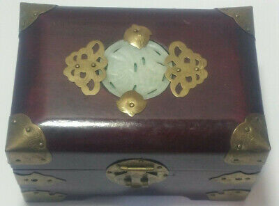 Vintage Chinese Wood & Brass Small Jewelry Box With Carved Jade Inset In Lid