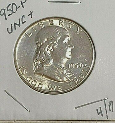 1950-P FRANKLIN HALF DOLLAR 90% SILVER EXACTLY SHOWN Free S/H in Holder - Sharp!