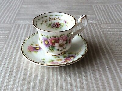 Royal Albert Miniature Flower Of The Month October Cosmos  Cup & Saucer