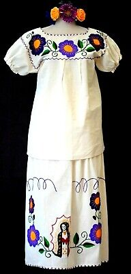 f7960a9318d Mexican Maxi Dress Virgen de Guadalupe 2pc Ivory Manta hand Embroidery Vtg  NWT
