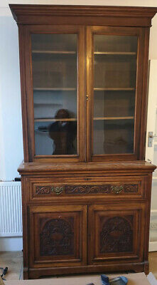 Antique Victorian Mahogany Secretaire Bookcase Desk