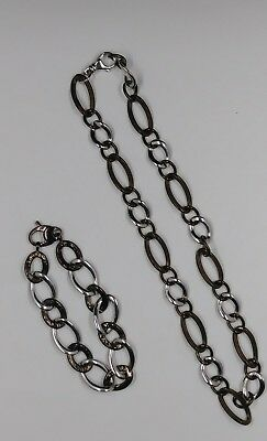 Sterling Silver Matching Necklace and Bracelet Set