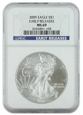 2009 1oz Silver American Eagle MS69 NGC - Early Release Blue