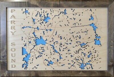 Wood Laser Cut Map of Parry Sound, Ontario