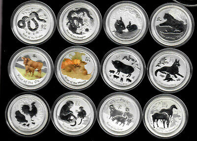 Australia 1/2 oz silver Lunar set 2008-19 12 coins, 2 are colorized as issued