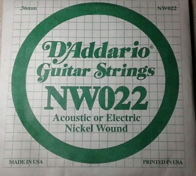 D'Addario Nickel Wound Guitar String NW022 Acoustic or Electric