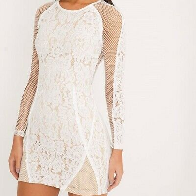 bb1465262a0 Pretty Little Thing NaaNaa Ida White Lace Fishnet Bodycon Dress Bnwt - New  UK 4