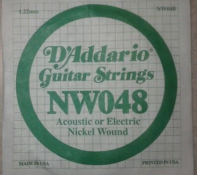 D'Addario Nickel Wound Guitar String NW048 Acoustic or Electric