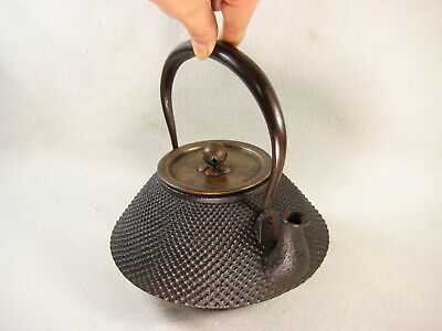 ANTIQUE JAPANESE MEIJI ERA (c.1910) CAST IRON TEAPOT TETSUBIN HAIL PELLET DESIGN