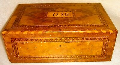 1850 Lovely Antique Walnut Inlaid Box For Money Jewelry Letters Rich Decorated
