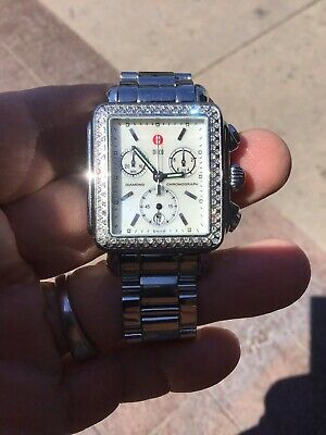 73516e5a2 Stainless Michele Deco Diamond Quartz Chronograph Watch 33Mm .60Ct Bezel  Mopdial