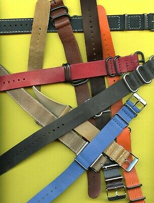 GENUINE LEATHER NATO G10 WATCH STRAP 40 COLORS 18mm 20mm 22mm 24mm