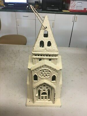 Antique Gothic Cast Iron Church Cathedral Candle Holder Architecture Lantern 16""