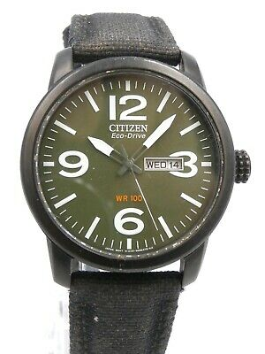Citizen Eco-Drive Men's Chandler 42mm Watch Black / Green Dial Date & Day Canvas