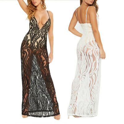 Sexy Women Deep V-neck See-through Lace Spaghetti Strap Maxi Dress with Panties