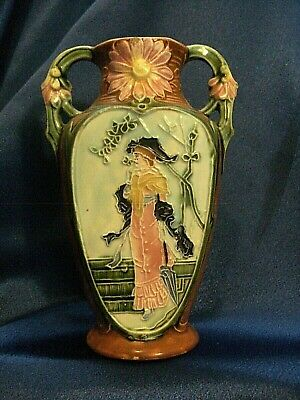 Vintage Double Handle Victorian Vase  Porcelain Hand Painted Lady in PInk