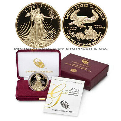2019-W 1 oz American Gold Eagle Proof coin w/ Mint Box and Cert of Authenticity