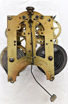 Ansonia 8 Day Time And Strike Clock Movement - For Parts Or Repair