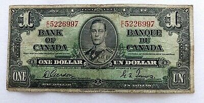1937 One Dollar King George Vi Canada Currency Banknote Note Money Bill Cash 97