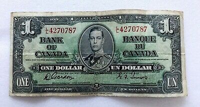 1937 One Dollar King George Vi Canada Currency Banknote Note Money Bill Cash 87
