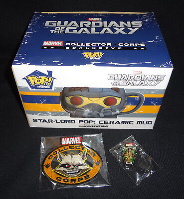 FUNKO POP! Marvel Collector Corps STARLORD MUG Groot Pin GUARDIANS OF THE GALAXY
