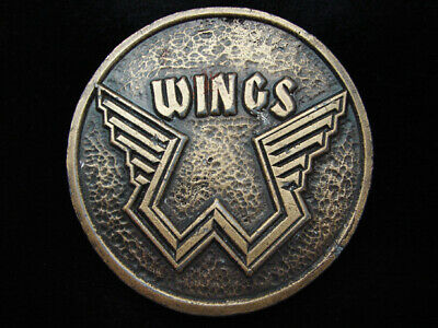 PC01165 VINTAGE 1970s **WINGS** BAND MUSIC COMMEMORATIVE BRASSTONE BELT BUCKLE