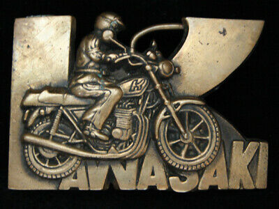 PC07133 VINTAGE 1970s **KAWASAKI** MOTORCYCLES SOLID BRASS BARON BELT BUCKLE