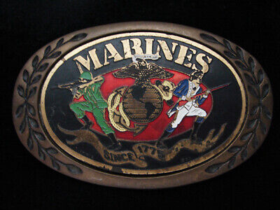 Pf07138 Vintage 1983 **United States Marines** Military Solid Brass Belt Buckle