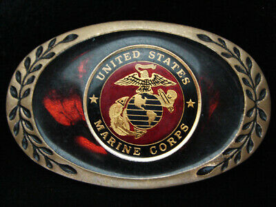 PF07139 VINTAGE 1980s *UNITED STATES MARINES* MILITARY SOLID BRASS BELT BUCKLE