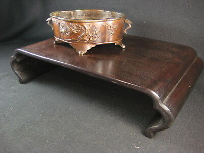 Antique Japanese 100 Yr Old Taisho Era Black Rosewood  Ikebana Or Bonsai Stand